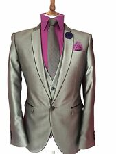 NEXT 40 SHORT 3 PIECE GREY TONIC HIGH SHINE FASHION SUIT,PROM SUIT W30 L28