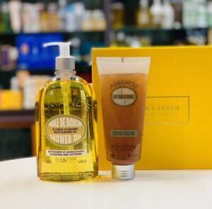 L'Occitane Almond Shower Oil 500ml & Shower Scrub 200ml Set CleansingExfoliating
