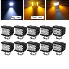"""10x 4"""" INCH 45W Pods Combo LED Work Light Strobe Lamp White & Amber For Truck"""