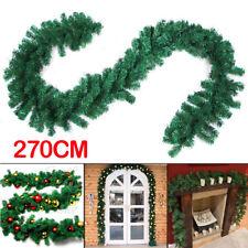 9FT 2.7M Guirnalda artificial Navidad puerta chimenea Xmas árbol decoración