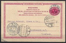 498# Dänemark GA Fährpost Tralleborg-Sassnitz nach Nordhausen 1903