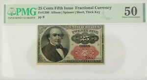 PMG AU 50, 25 Cents Fifth Issue Fractional Currency Fr#1309