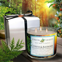 Aroma of Christmas, Cypress And Bayberry, Handmade, Soy Candle in 17.5 oz 3 Wick