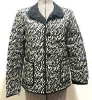 Hilary Radley Embroidered Reversible Jacket Black & White Pattern Sz XS Outer