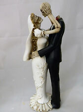 Wedding Party Reception Bride & Groom Lovers Cake Topper Gothic Skeleton