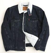 LEVIS Premium Sherpa Trucker Rare Jean Jacket Denim Cotton Black Men's XL