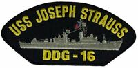 USS JOSEPH STRAUSS DDG-16 PATCH NAVY SHIP GUIDED MISSILE DESTROYER ADAMS CLASS