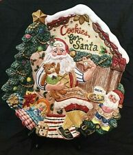 Fitz and Floyd Santa's Magic Workshop Cookies for Santa Plate Wall Plaque