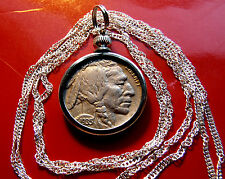 "AMERICAN BUFFALO Nickel PENDANT  30"" 925 Silver Twist Wavy Chain"