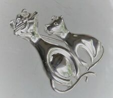 "Cat & Kitten Brooch Pin Sterling Silver 1 5/8"" Mother Kitty"