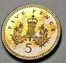 New listing 2005 Great Britain 5 Five Pence Proof Toned Flawless Golden Blue Unc Color (Dr)