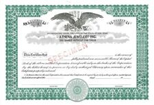 Athena Jewelry Inc SPECIMEN New York old stock certificate share
