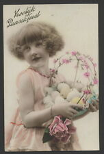 MB5334 LITTLE CURLY HAIR GIRL WITH EASTER EGGS , SPRING GREETINGS RPPC