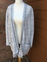 M&S light grey fringed hem cardigan - size 18 (Used)