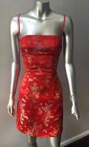 Cheongsam Oriental vintage 90s Halter Red Dragon Satin Short Party Dress M