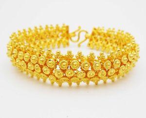 """22K 24K THAI BAHT YELLOW GOLD GP Pikun Flower Bracelet Bangle Women Jewelry 7.5"""""""