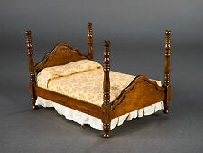 Vintage Dollhouse Miniature Furniture Wood 4 Poster Bed w/ Mattress & Bedspread