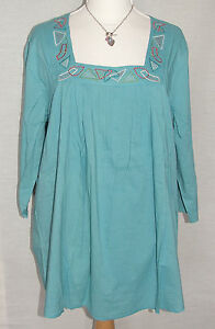 NEW Ulla Popken BLUE Embroidered COTTON 3/4 sleeve Peasant top Size 12/14