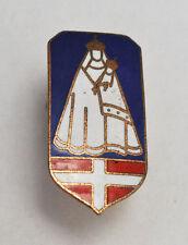 Broche religieuse émail Vierge Croix de Savoie Lourdes Penin Lyon