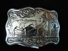 GIST SILVER COWBOY AT CROSS BELT BUCKLE Inspirational WESTERN HORSE NEW IN BOX