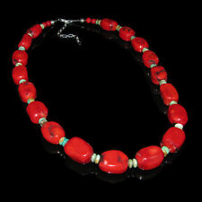 LARGE 925 Sterling Silver Genuine Orange Red Coral Turquoise Necklace