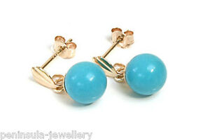 9ct Gold Turquoise drop earrings 6mm ball Gift Boxed Made in UK