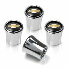 Chevy Gold Bowtie Tire Valve Stem Caps Black and Silver Set of 4 MADE IN USA
