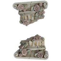 2 Column Pillar Capital Ruins Ionic Wall Mounted Scone Greek Sculpture Shelf