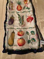 "VTG  Bill Bass   silk scarf vegetables  26 by 10"" Z30"