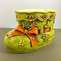 Baby Bootie Planter vintage D-Ann Japan bright colors hand painted small repair