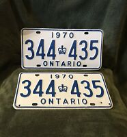 Vintage 1970 Pair of Ontario Canada License Plates - Crown Emblem