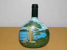"Vintage Art 1975 8"" High Hand Painted Island Water Trees Wine Bottle *Empty*"