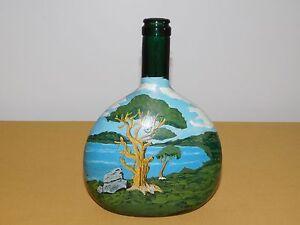"VINTAGE ART 1975 8"" HIGH HAND PAINTED ISLAND WATER TREES  WINE BOTTLE **EMPTY**"