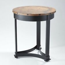 Classic Copper Top Regency Style Accent Table | Round Wrought Iron Rustic  Lodge