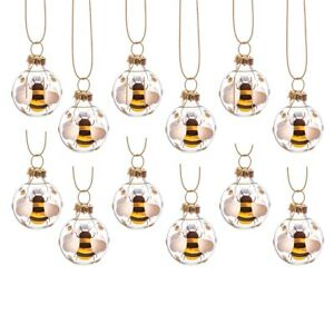 Sass & Belle Mini Bee Glass Bauble Hanging Decoration Christmas Xmas Tree x12