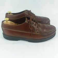 LL Bean Brown Leather Moc Blucher Lace-Up Shoes Sneakers Mens 11EE