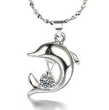 925 Sterling Silver Crystal Dolphin Pendant Necklace Elegant woman Jewelry