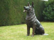 Bronzefigur deutscher Schäferhund Skulptur Hund Gartendekoration *