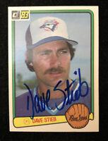 DAVE STEIB 1983 DONRUSS AUTOGRAPHED SIGNED AUTO BASEBALL CARD 507 BLUE JAYS