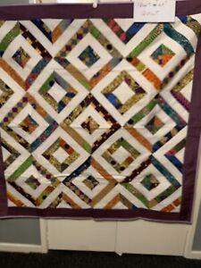 "Handmade Large Lap Quilt 56"" X 56"" Diamonds"