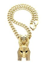 """NEW ANUBIS PENDANT WITH 18"""" 9mm CUBAN CHAIN."""