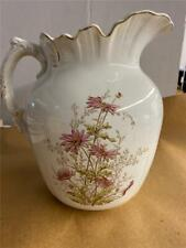 "ANTIQUE JOHN MADDOCK & SONS 11"" TALL  VITREOUS CHINA WATER PITCHER VIOLET MUMS"