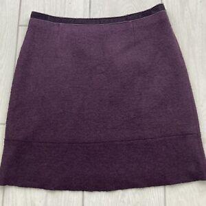 Laura Ashley Purple Wool Blend Skirt UK14 Boucle Knee Velvet Trim A-line Short