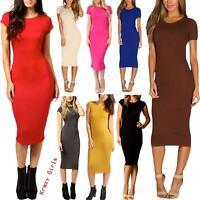 Womens Cap Sleeve Stretch Bodycon Plain Jersey Pencil Crew Neck Midi Dress 8-22