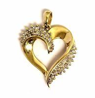 14k yellow gold .48ct SI2 H diamond heart pendant charm 4.5g estate vintage