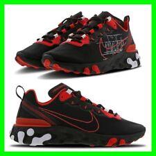 Nuevo Nike React Element Negro-Rojo-Blanco para Hombre Talla UK 6-11 Casual Zapatillas Zapatos