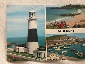 SPLENDID OLD 3 VIEW POSTCARD - ALDERNEY - CHANNEL ISLANDS C.1985