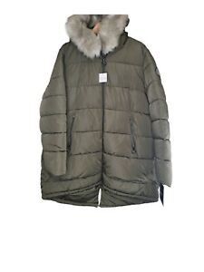 DKNY Donna Karan Women's Long Down Jacket Size XXL Fur Hood Extreme Cold
