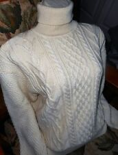 VTG MICHELLE STUART WOOL BLEND ARAN TURTLENECK SWEATER   SZ LARGE