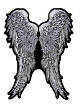 ANGEL WING FEATHERS EMBROIDERED 11 INCH IRON ON MC BIKER  PATCH
